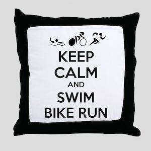 Keep calm and triathlon Throw Pillow