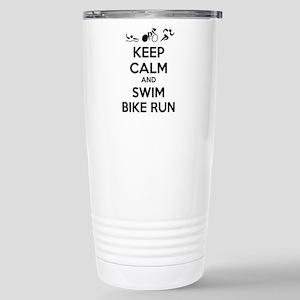 Keep calm and triathlon Stainless Steel Travel Mug