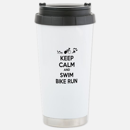 Keep calm and triathlon Stainless Steel Travel Mug