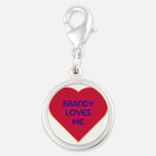 Brandy Loves Me Silver Round Charm