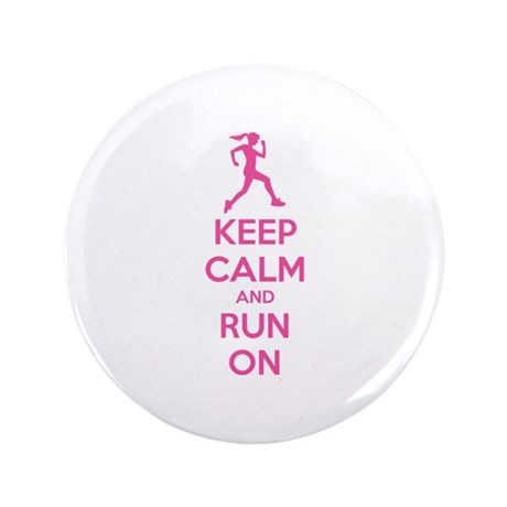 """Keep calm and run on 3.5"""" Button (100 pack)"""