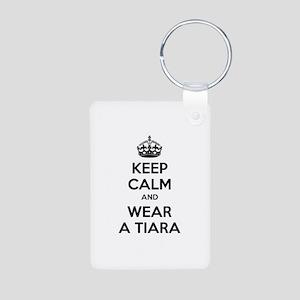 Keep calm and wear a tiara Aluminum Photo Keychain