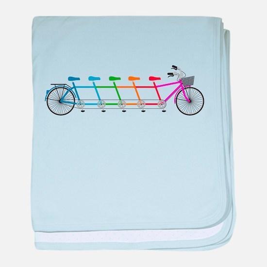 colorful tandem bicycle, team bike baby blanket
