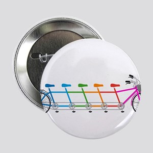 """colorful tandem bicycle, team bike 2.25"""" Button"""