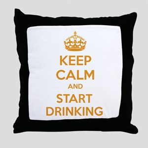 Keep calm and start drinking Throw Pillow