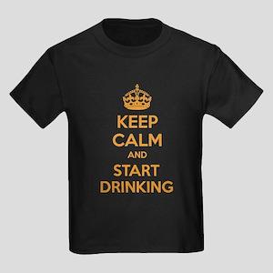 Keep calm and start drinking Kids Dark T-Shirt