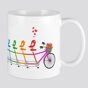 colorful tandem bicycle with cute birds family Mug