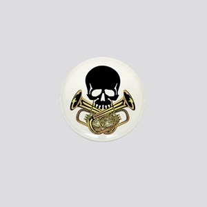 Skull with Tuba Crossbones Mini Button