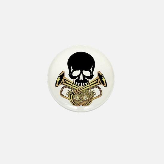 Skull with Tuba Crossbones Mini Button
