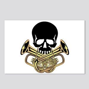 Skull with Tuba Crossbones Postcards (Package of 8