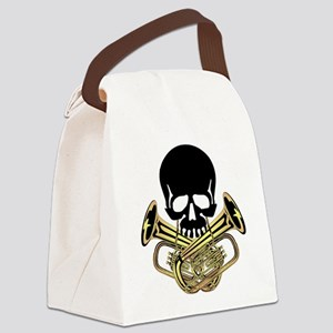 Skull with Tuba Crossbones Canvas Lunch Bag