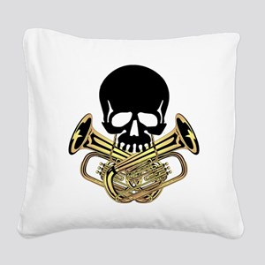 Skull with Tuba Crossbones Square Canvas Pillow