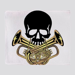 Skull with Tuba Crossbones Throw Blanket