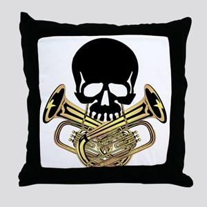 Skull with Tuba Crossbones Throw Pillow