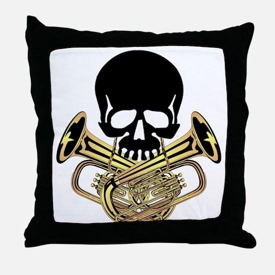 Skull with Tuba Crossbones Throw Pillow