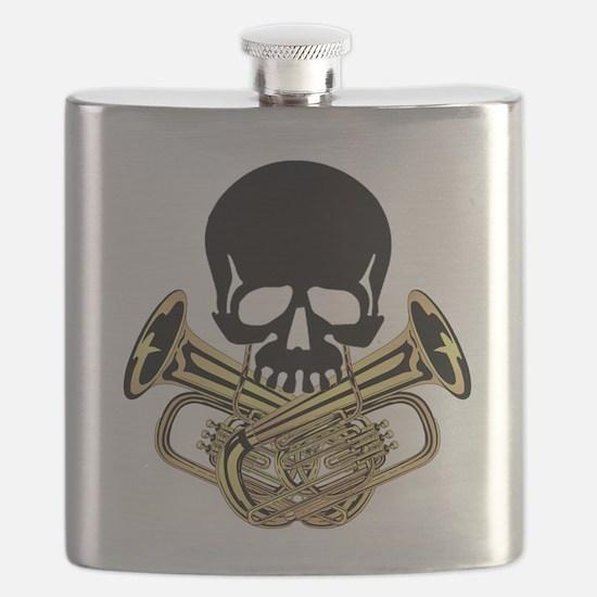 Skull with Tuba Crossbones Flask