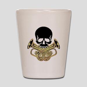 Skull with Tuba Crossbones Shot Glass