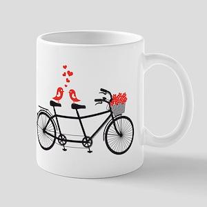 tandem bicycle with cute love birds Mug