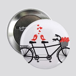 """tandem bicycle with cute love birds 2.25"""" Button"""