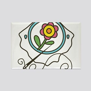 Cross Stitch Flower Rectangle Magnet