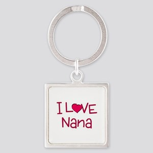 I Love Nana Square Keychain