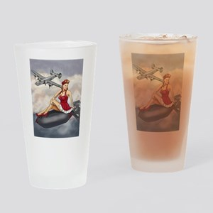 Bomber Girl WWII Pin-Up Drinking Glass