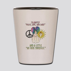 Peace, love and light Shot Glass