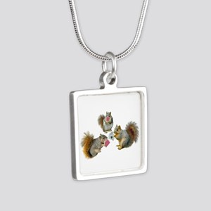 Squirrels Poker Silver Square Necklace