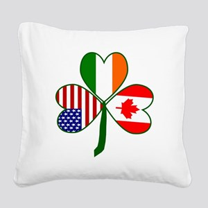 Shamrock of Canada Square Canvas Pillow