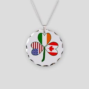 Shamrock of Canada Necklace Circle Charm