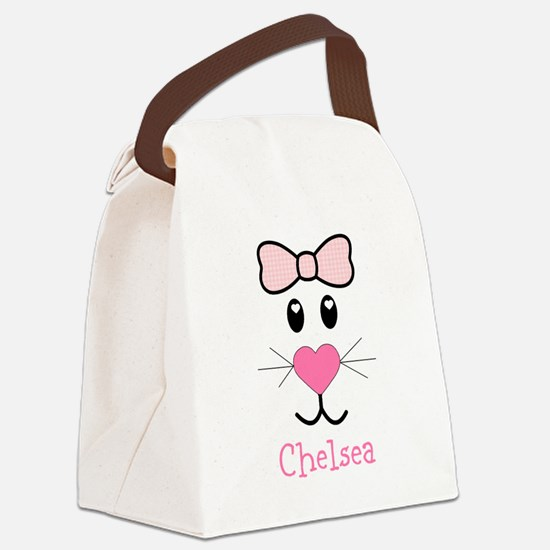 Bunny face customized Canvas Lunch Bag