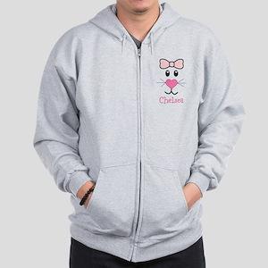 Bunny face customized Zip Hoodie