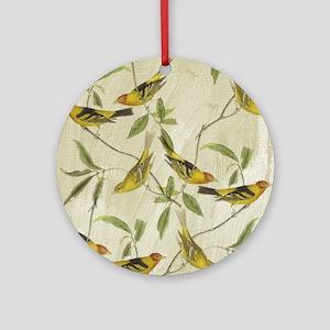 Vintage Yellow Birds Ornament (Round)