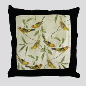 Vintage Yellow Birds Throw Pillow