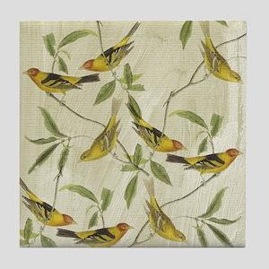Vintage Yellow Birds Tile Coaster
