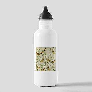 Vintage Yellow Birds Water Bottle