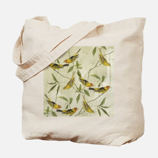 Vintage Yellow Birds Tote Bag