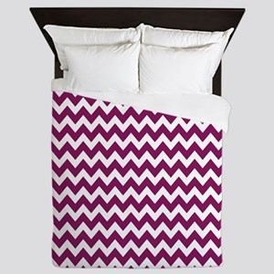 Purple and White Chevron Zigzag Pattern Queen Duve