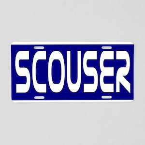 Scouser White on Bl... Aluminum License Plate