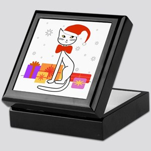 Santa cat in snow - Keepsake Box