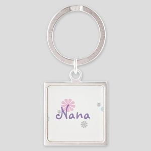 Nana Flowers Square Keychain