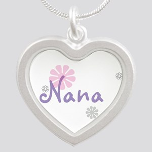 Nana Flowers Silver Heart Necklace