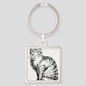 Cat Square Keychain