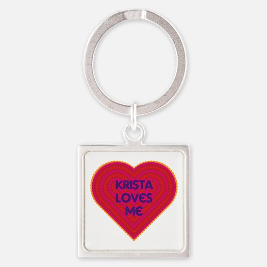 Krista Loves Me Square Keychain