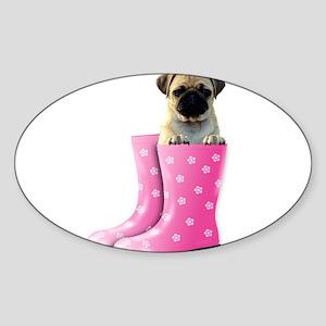 Pretty in pink pug Sticker