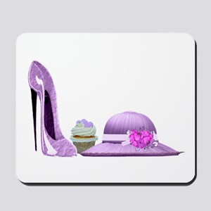 Lilac Stiletto Shoe, Hat and Cupcake Art Mousepad