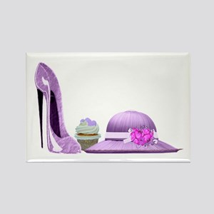Lilac Stiletto Shoe, Hat and Cupcake Art Rectangle