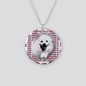 all american eskimo dog Necklace Circle Charm