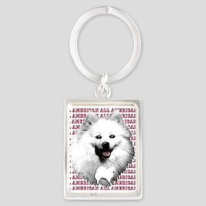 all american eskimo dog Portrait Keychain