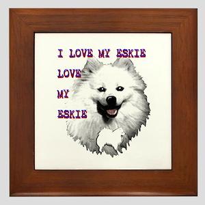 i love my eskie, american eskimo dog Framed Tile